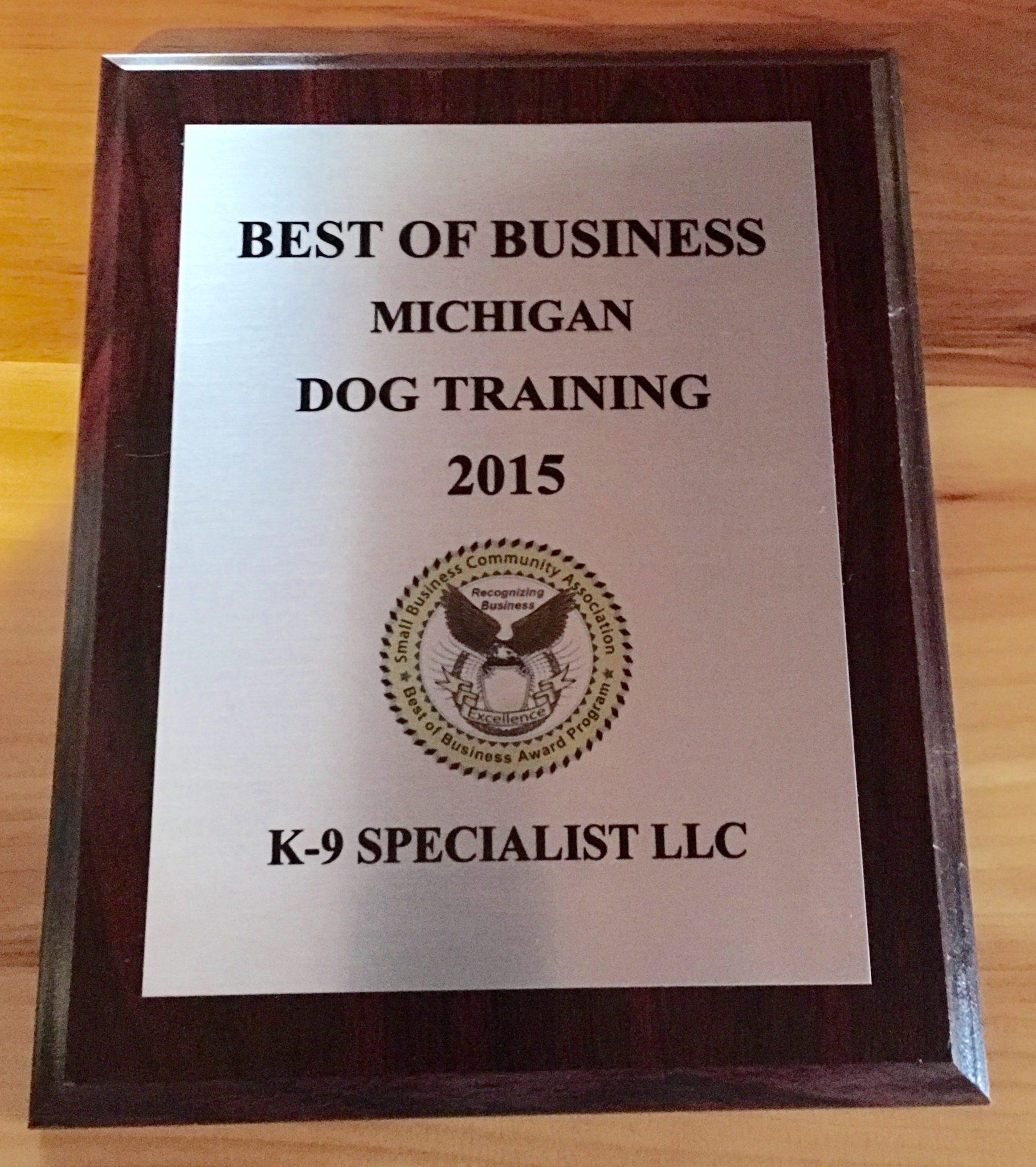 k9 specialist national 1 dog trainer west michigan